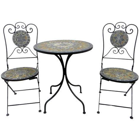 Charles Bentley 2 Sitzer Terrakotta-Mosaik-Bistro-Set Gartentisch 2 Stühle