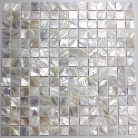 Mosaik und fliesen in Perlmutt für Bad und Dusche odyssee-blanc