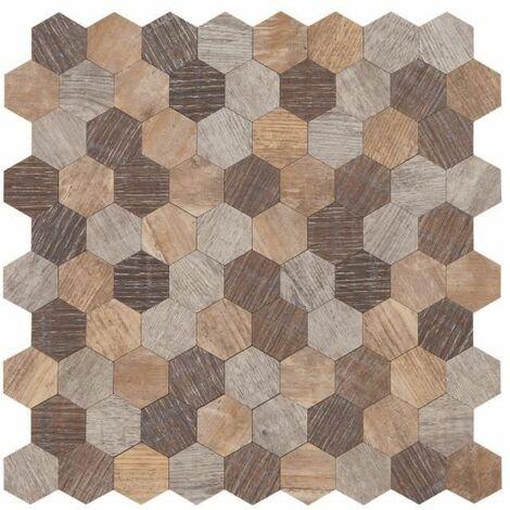 Mosaique adhésive en bois 30,5 x 30,5 cm - Marron