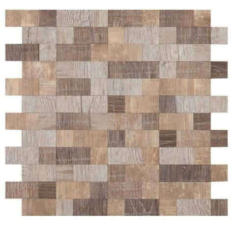 Mosaique adhésive en Bois Brique - 30,5 x 30,5 cm - Marron et beige