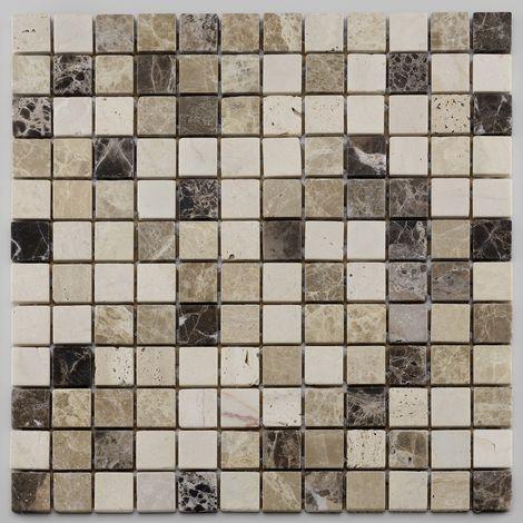 Mosaïque antidérapante pierre naturelle Square - 30x30x0.7cm - Trav/marfilC/emparLD