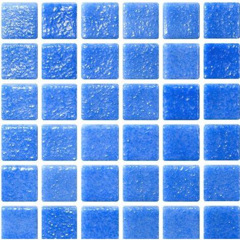 Mosaique bleu azur 5x5 sur trame 30.7x30.7 NIEBLA AZUL A-10 - 2 m²