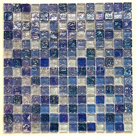 """main image of """"Mosaique bleu pour mur et sol en verre Arezo Cyan"""""""