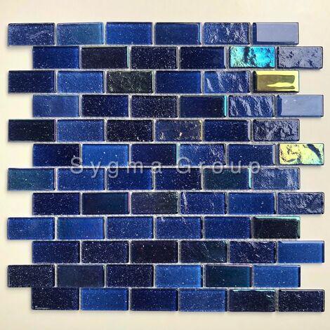 """main image of """"Mosaique de verre bleue pour le mur de cuisine et salle de bains Kalindra Bleu"""""""