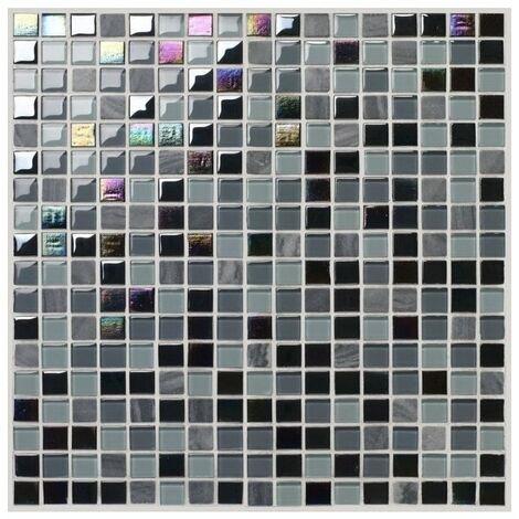 Mosaique en pate de verre - - 30 x 30 cm - Noir