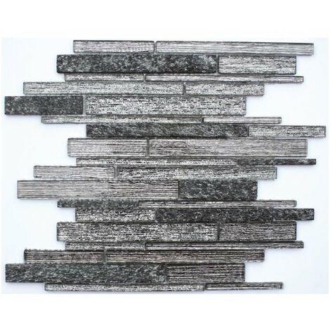 Mosaique en pate de verre - 30 x 30 cm - Noir