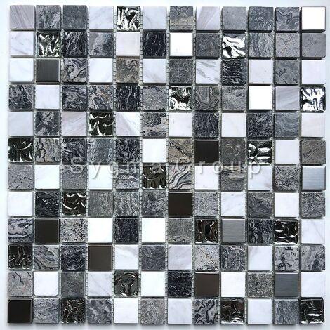 mosaique en pierre et verre salle de bains et douche Willa