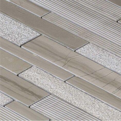 Mosaïque Marbre Beige Wood Line - vendu par carton de 0.91 m² - Beige, Brun