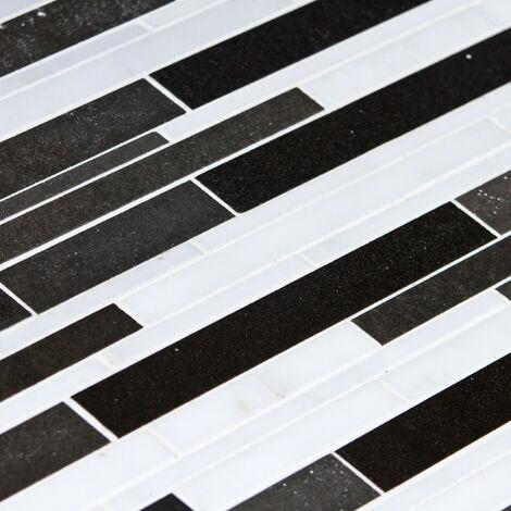 Mosaïque Marbre et Basalte Cityline - vendu par carton de 0.46 m² - Blanc, Noir