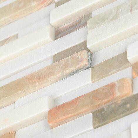 Mosaïque Marbre et Onyx Bicolor - vendu par carton de 0.4651 m² - Blanc, Vert