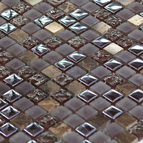 Mosaïque Marbre et Verre Caramel Color - vendu par carton de 0.9303 m² - Brun