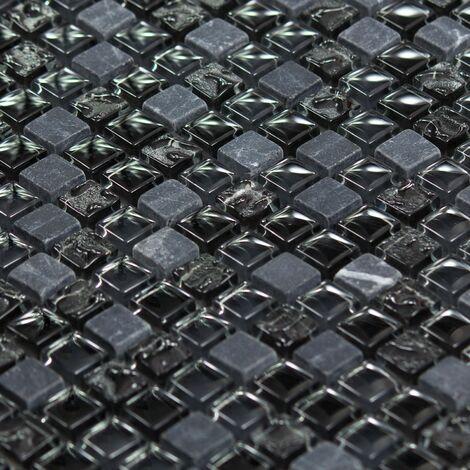 Mosaïque Marbre et Verre Chrome Color - vendu par carton de 0.99 m² - Noir