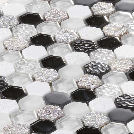 Mosaïque Marbre et Verre Glacier Black & White Hexa - vendu par carton de 1.0 m² - Argent, Blanc, Noir