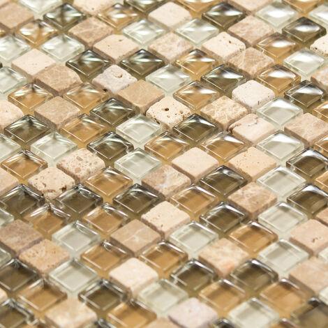 Mosaïque Marbre et Verre Olive Color - vendu par carton de 0.93 m² - Beige, Brun, Vert