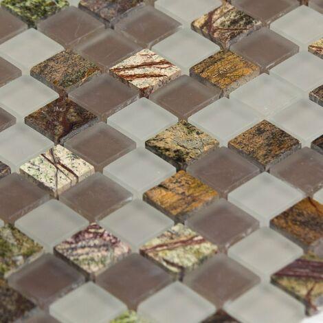 Mosaïque Marbre et Verre Purple Color - vendu par carton de 0.9 m² - Beige, Brun
