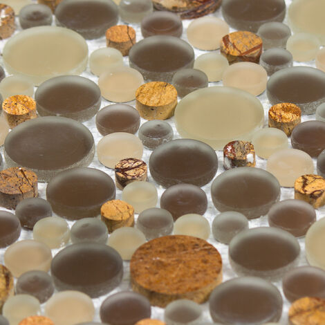 Mosaïque Marbre et Verre Tiger Bubble - vendu par carton de 0.93 m² - Beige, Brun, Orange