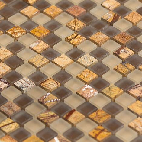 Mosaïque Marbre et Verre Tiger Color - vendu par carton de 0.9 m² - Beige, Brun, Orange