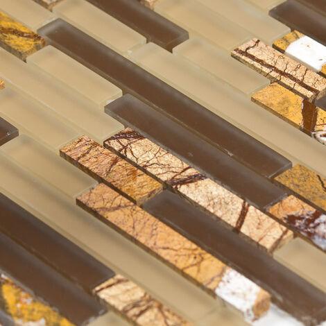 Mosaïque Marbre et Verre Tiger Line - vendu par carton de 0.9272 m² - Beige, Brun, Orange