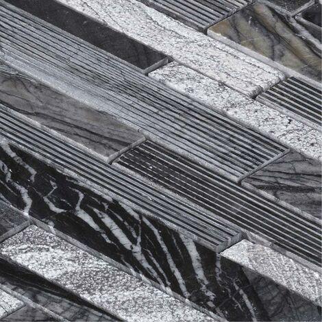 Mosaïque Marbre Grey Wood Line - vendu par carton de 0.91 m² - Blanc, Gris, Noir