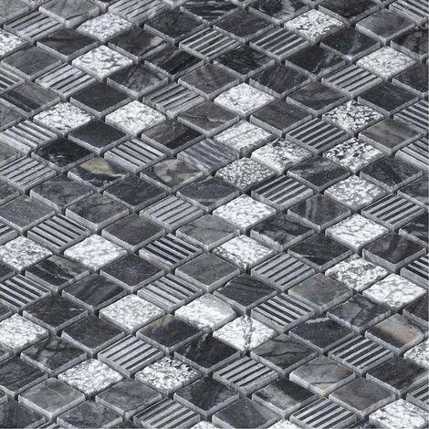 Mosaïque Marbre Grey Wood - vendu par carton de 0.93 m² - Blanc, Gris, Noir