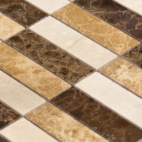 Mosaïque Marbre Mixcolor Atlas Lamelles - vendu par carton de 0.763 m² - Beige, Brun