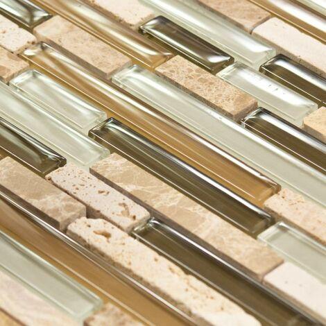Mosaïque Marbre Olive Line - vendu par carton de 0.9272 m² - Beige, Brun, Vert