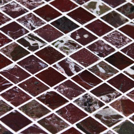 Mosaïque Marbre Rubbysaphir - vendu par carton de 0.45 m² - Blanc, Rouge