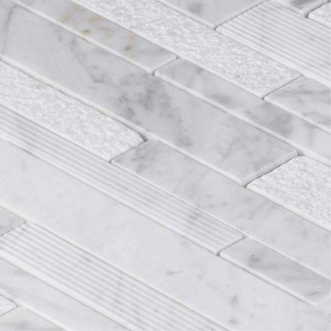 Mosaïque Marbre White Wood Line - Tarif à la plaque de 0,09m²