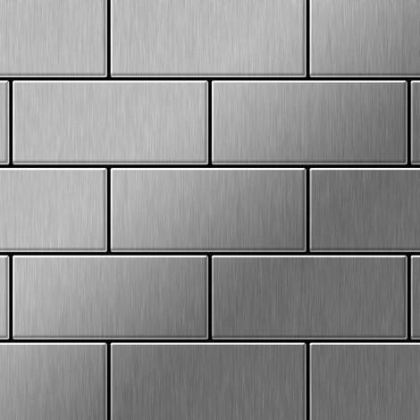 Mosaïque métal massif Carrelage Acier inoxydable brossé gris Grosseur 1,6mm ALLOY Subway-S-S-B 0,58 m2