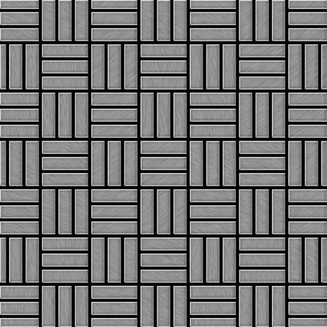 Mosaïque métal massif Carrelage Acier inoxydable Marine brossé gris Grosseur 1,6mm ALLOY Basketweave-S-S-MB 0,82 m2
