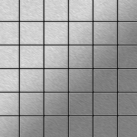 Mosaïque métal massif Carrelage Acier inoxydable Marine brossé gris Grosseur 1,6mm ALLOY Cinquanta-S-S-MB 0,94 m2