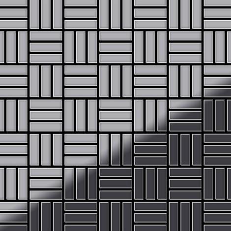 Mosaïque métal massif Carrelage Acier inoxydable miroir gris Grosseur 1,6mm ALLOY Basketweave-S-S-M 0,82 m2