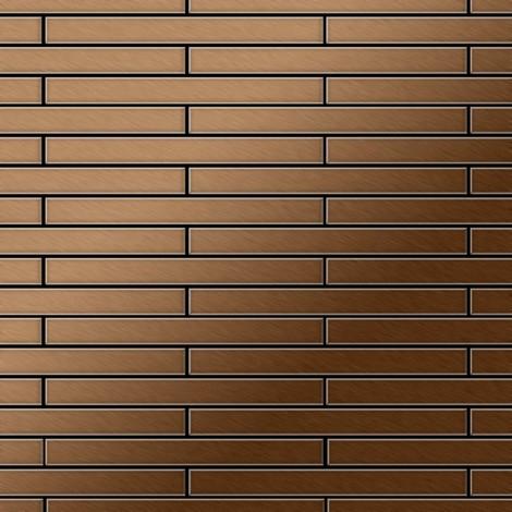Mosaïque métal massif Carrelage Titane brossé Amber cuivre Grosseur 1,6mm ALLOY Avenue-Ti-AB 0,74 m2