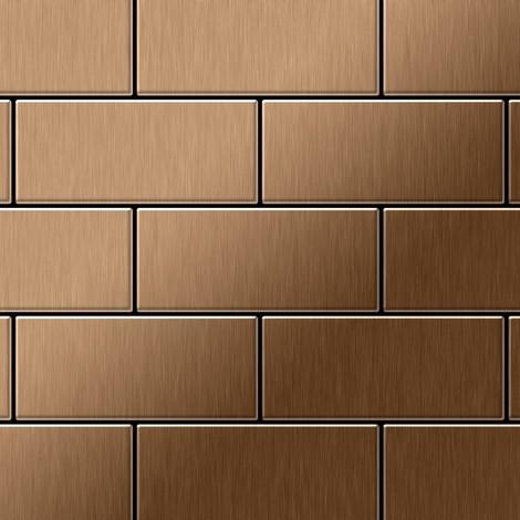 Mosaïque métal massif Carrelage Titane brossé Amber cuivre Grosseur 1,6mm ALLOY Subway-Ti-AB 0,58 m2