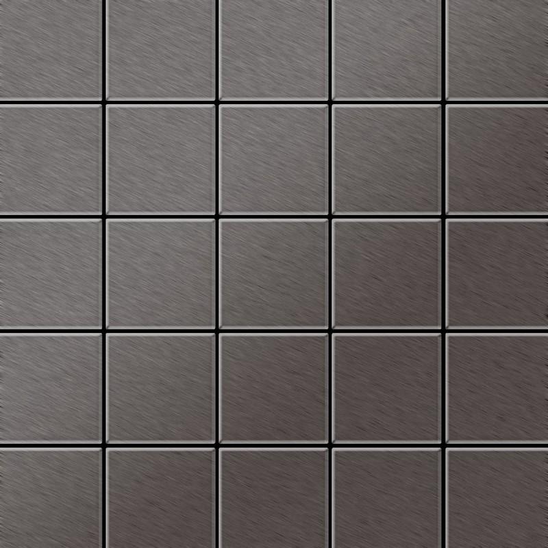 mosaïque métal massif carrelage titane brossé smoke gris foncé
