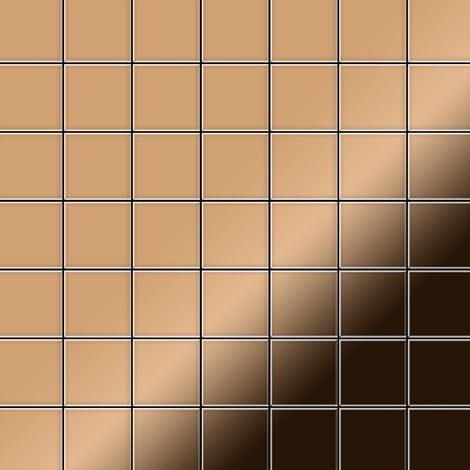 Mosaïque métal massif Carrelage Titane miroir Amber cuivre Grosseur 1,6mm ALLOY Attica-Ti-AM 0,85 m2