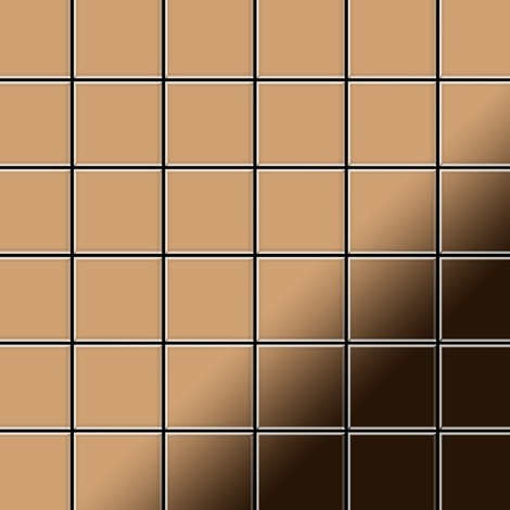 Mosaïque métal massif Carrelage Titane miroir Amber cuivre Grosseur 1,6mm ALLOY Cinquanta-Ti-AM 0,94 m2