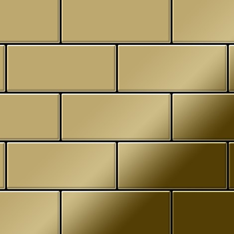 Mosaïque métal massif Carrelage Titane miroir Gold doré Grosseur 1,6mm ALLOY Subway-Ti-GM 0,58 m2