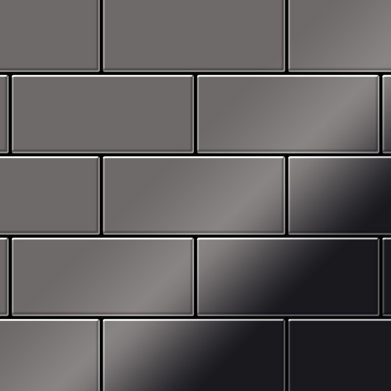 mosaïque métal massif carrelage titane miroir smoke gris foncé