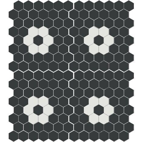 """main image of """"Mosaïque mini tomette hexagonale 30x30 cm SIXTIES SHAPES mate FLOR 60Y - Black&White - 1 m²"""""""