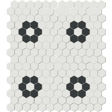 """main image of """"Mosaïque mini tomette hexagonale 30x30 cm SIXTIES SHAPES mate FLOR 60Y - White&Black - 1 m²"""""""