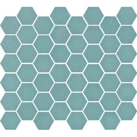 Mosaïque mini tomette hexagonale 30x30 cm SIXTIES TURQUOISE mate - 1m²