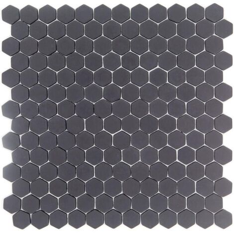 Mosaique Mini tomette hexagonale GRAPHITE23 25x13mm gris anthracite mat - 0.85m²
