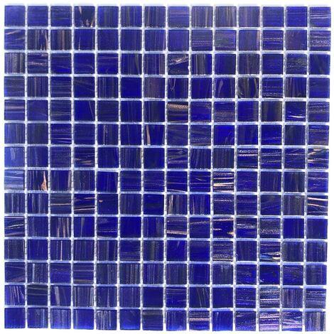 Mosaique pate de verre pour sol douche et mur salle de bain et cuisine Plaza Bleu Nuit