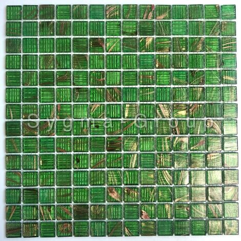 Mosaique pate de verre pour sol douche et mur salle de bain et cuisine Plaza Vert