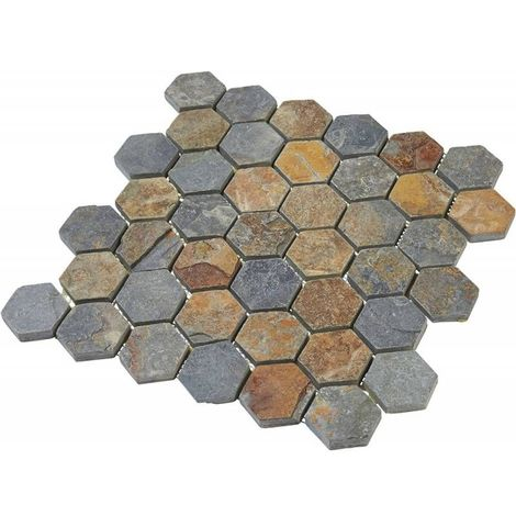 Mosaïque Pierre Naturelle - Multicolore - Hexagones