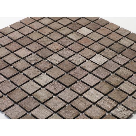 Mosaique pierre naturelle sur natte étanche - coloris roche de mars