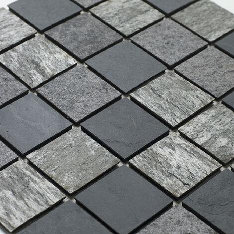 Mosaique pierre naturelle sur natte _tanche - coloris mixte gris