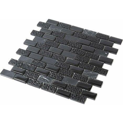 Mosaïque Pierre / Verre - Black - 2.3 x 4.8 cm
