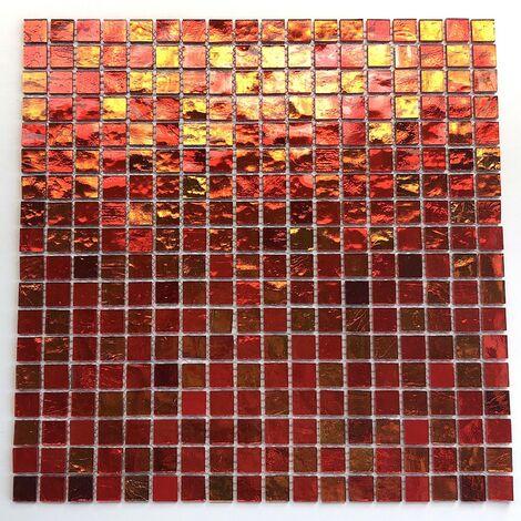 mosaique pour mur et sol salle de bains en verre gloss orange